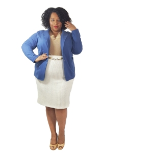 Blue Blazer Gold Sweater Cream Skirt edit