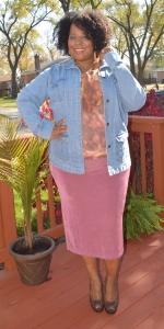 denim jacket pink skirt second edit pose 2