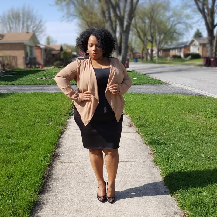 Tan Jacket Black Peplum Skirt edit2
