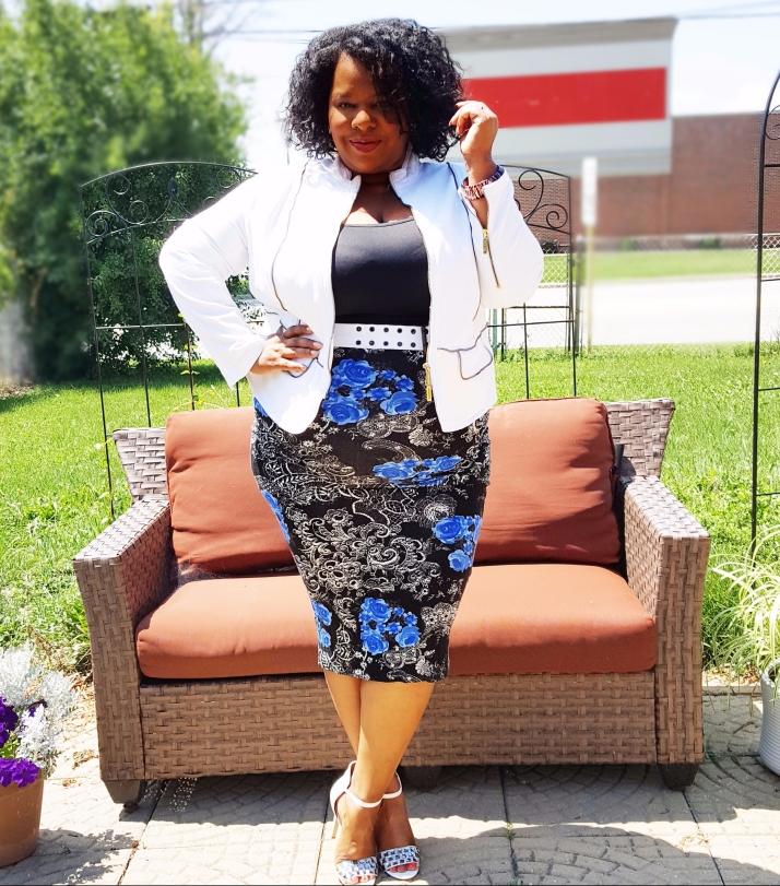White Jacket Blue Floral Skirt2