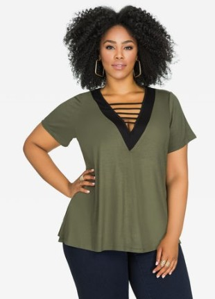 Ashley Stewart Olive Black VNeck Top