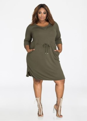 Ashley Stewart Olive Drawstring Waist Dress