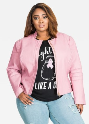 Ashley Stewart Pink Moto Jacket