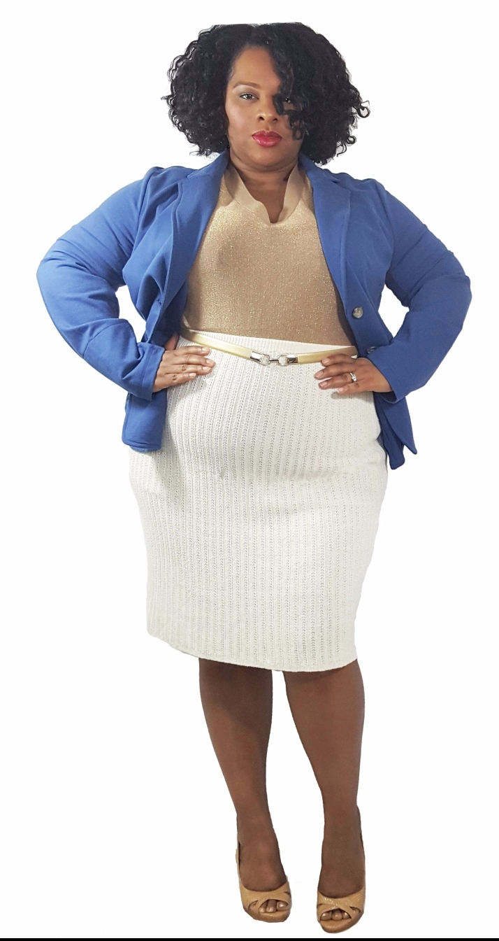 Blue Blazer Cream skirt edit