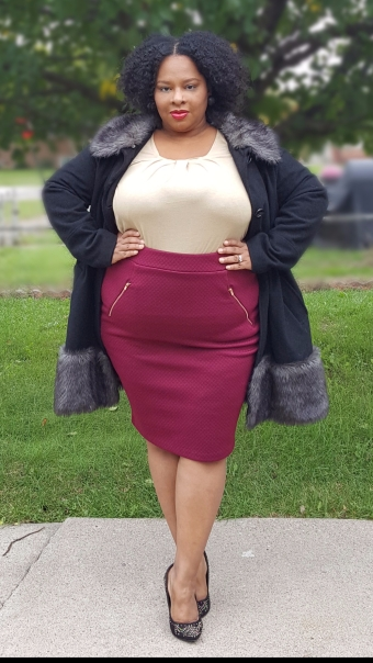Gold Top Maroon Skirt Outside