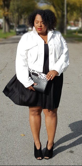 White Jacket Black Pleated Skirt