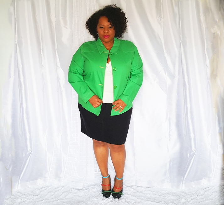 Green Jacket Black Skirt2