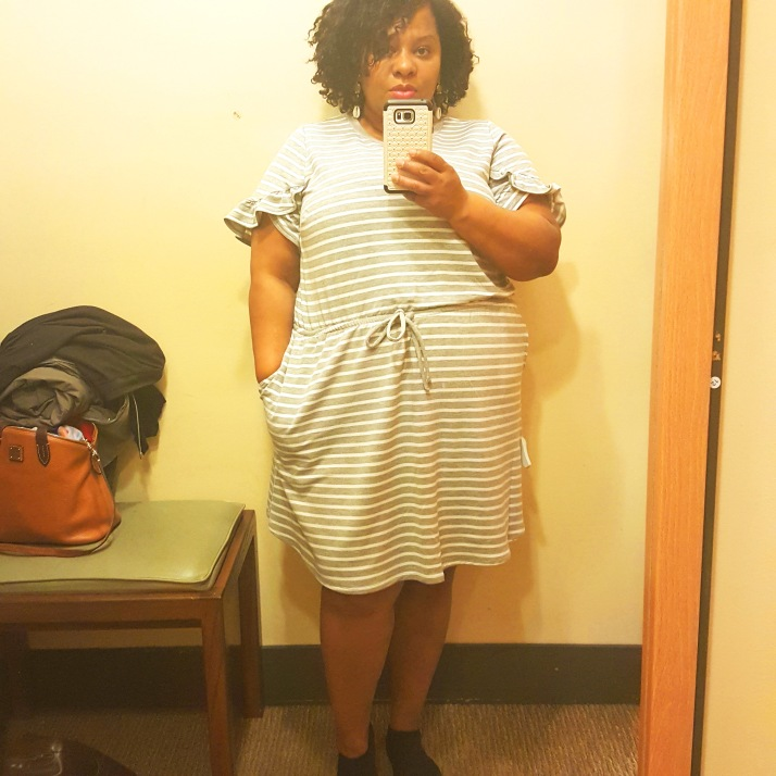 LB Dressing Room Gray White Striped Dress