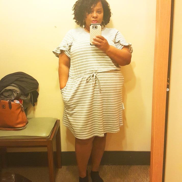LB Dressing Room Gray White Striped Dress