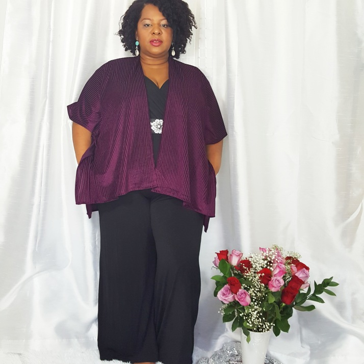 LB Purple Cardi Black Jumpsuit