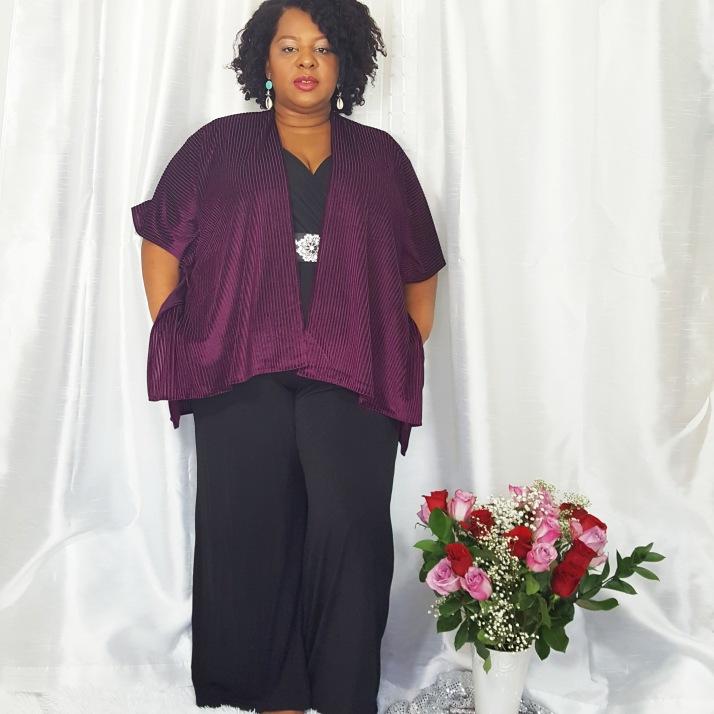 LB Purple Cardi Black Jumpsuit