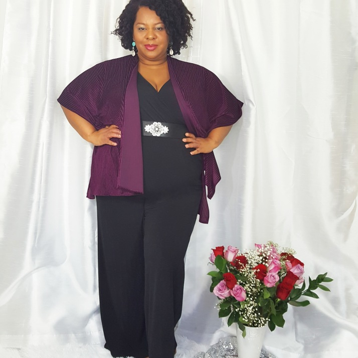 LB Purple Cardi Black Jumpsuit2