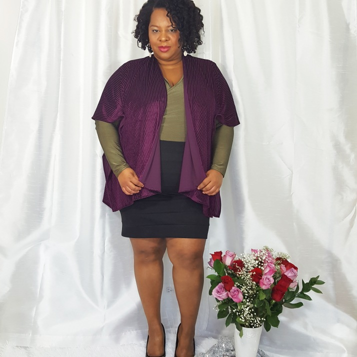 LB Purple Cardi Black Skirt
