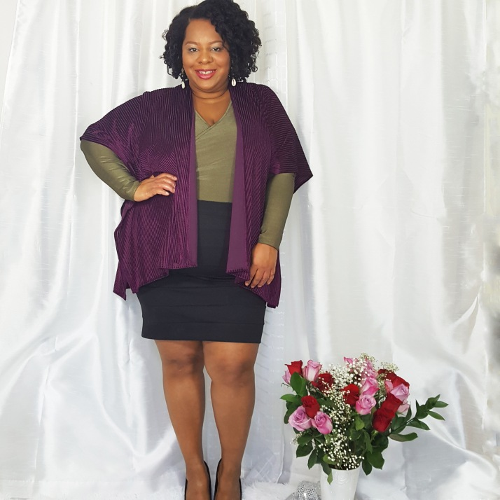 LB Purple Cardi Black Skirt2