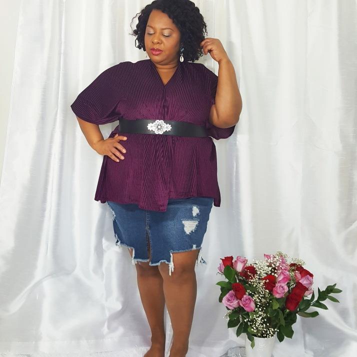 LB Purple Cardi Denim Skirt
