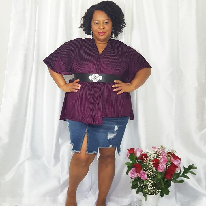 LB Purple Cardi Denim Skirt2